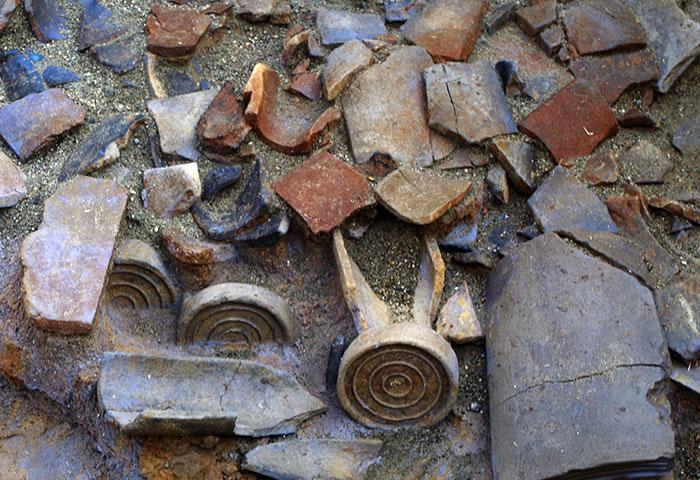 奈良時代を中心に使われていた瓦、重圏文軒丸瓦(じゅうけんもんのきまるがわら)