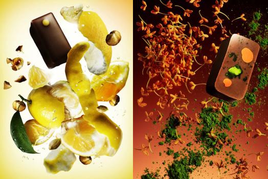 「日向夏ノワゼット」は、果実だけでなく皮や白い果皮もすべて自家製のヘーゼルナッツのプラリネに混ぜ込んだ、酸味と苦みが利いたボンボンショコラ。「抹茶&金木犀」は、花の香りをミルクチョコに移し取り、幼い頃から慣れ親しんだ宇治の抹茶をホワイトチョコのガナッシュに仕立てた組み合わせ