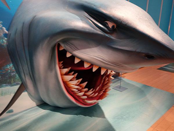 ホオジロザメのブルース、口の中までリアル