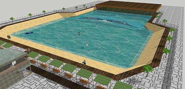 サーフィン場を含む周辺施設は約3000坪を予定