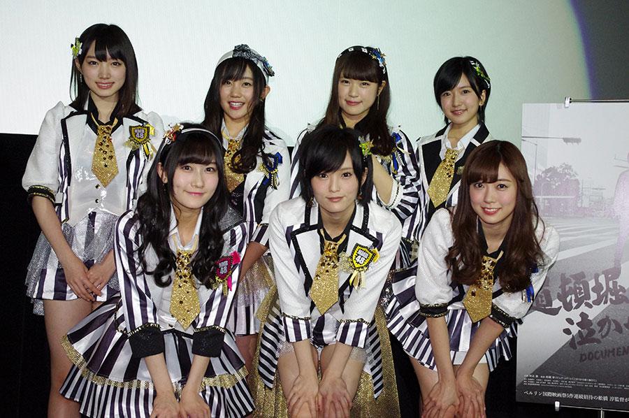 前列左から、矢倉楓子、山本彩、渡辺美優紀。後列左から、太田夢莉、薮下柊、渋谷凪咲、須藤凜々花