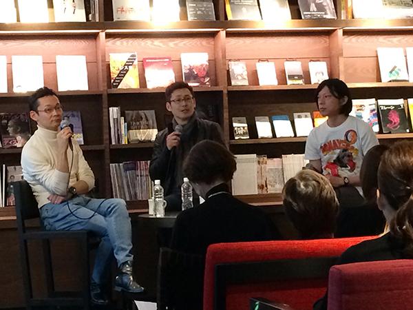 左から米田肇さん、岩永歩さん、進行係は[ル・シュクレ・クール四ツ橋出張所]の横田さん