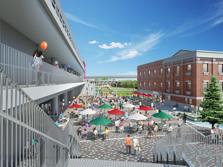 赤レンガ館と本館の間は「赤レンガ広場」と称し、イベントも行われる予定