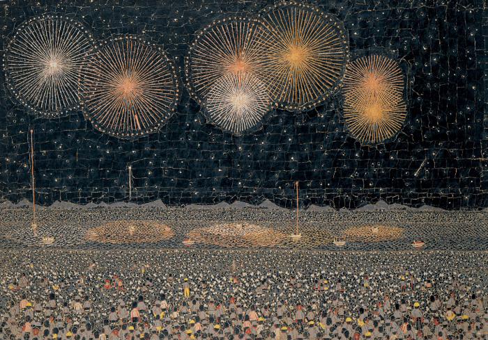 長岡の花火(貼絵) © 清美社