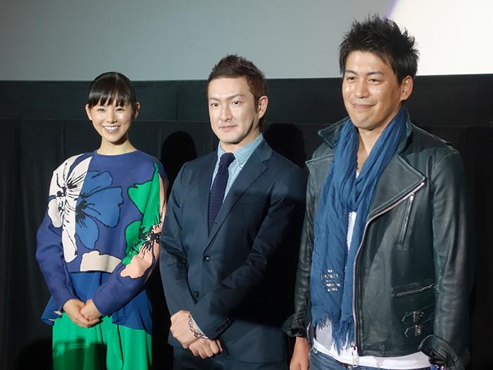 左から、小西真奈美、中村獅童、竹永監督