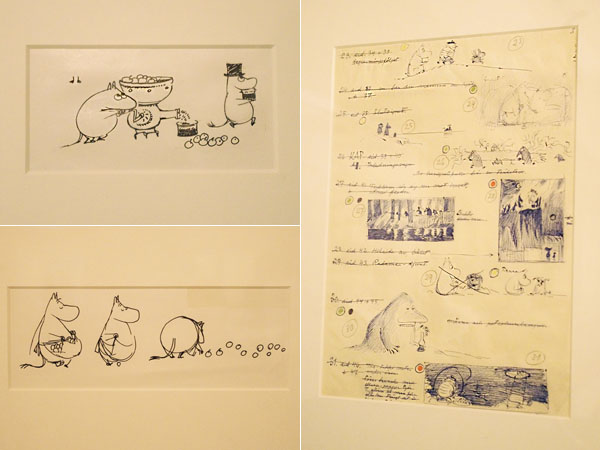 「ムーミン谷の仲間たち」習作 インク 1962年、「ムーミン谷の仲間たち」スケッチ インク 1962年、「ムーミン谷の冬」スケッチ ボールペン 1957年