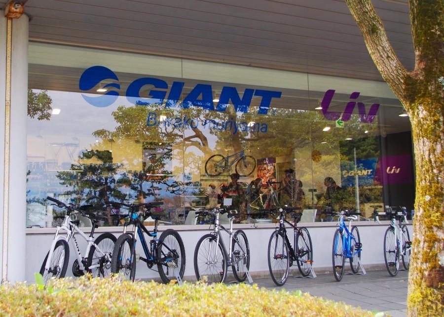 レンタサイクルは台数も種類豊富に揃えられている「ジャイアントストアびわ湖守山」の店頭