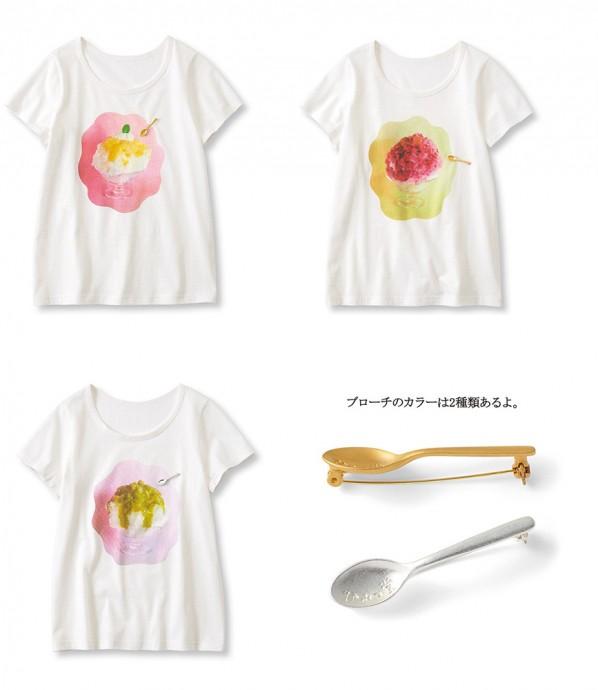 コラボTシャツは、[ひみつ堂]刻印入りのスプーン形ブローチがセットになって3,780円(月1セット/S~3L)