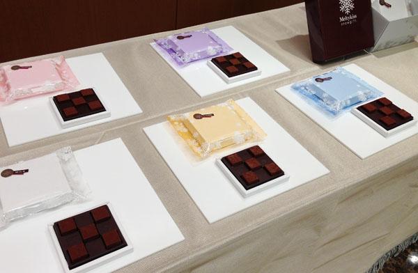 ミルク・キャラメル・ジャンドゥーヤ・フランボワーズ・ブランデーの5種類(各701円/1箱5粒入り)