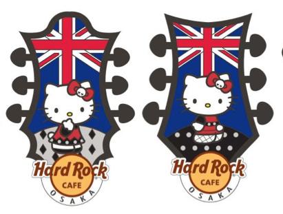 「Hello Kitty Union Jack Headstock Pin」(左が大阪、右がユニバーサル・シティウォーク大阪™)