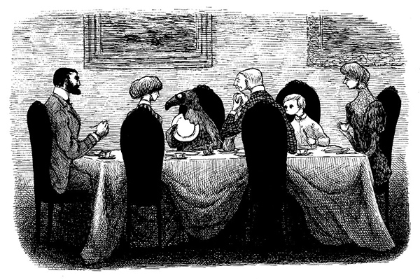 『うろんな客』原画,1957年 ©2010 The Edward Gorey Charitable Trust
