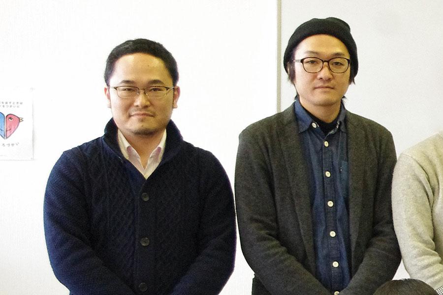 あごうさとしさん(左)自身も制作活動を行う。「ドイツ人アーティストとの滞在制作などを予定しており、国内外での活動の場を広げたい」と話す