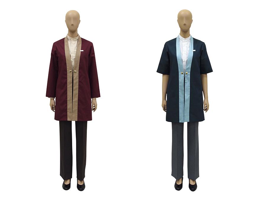 ミュージアムショップの制服(左から、秋冬、初夏)
