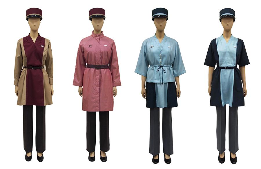 17日に発表された「京都鉄道博物館」受付案内の制服(左から秋冬1、秋冬2、春夏1、春夏2)