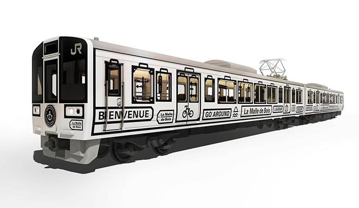 観光列車「La Malle de Bois(ラ・マル・ド・ボァ)」の車内には自転車を持ち込み、駐車しておくスペースがある