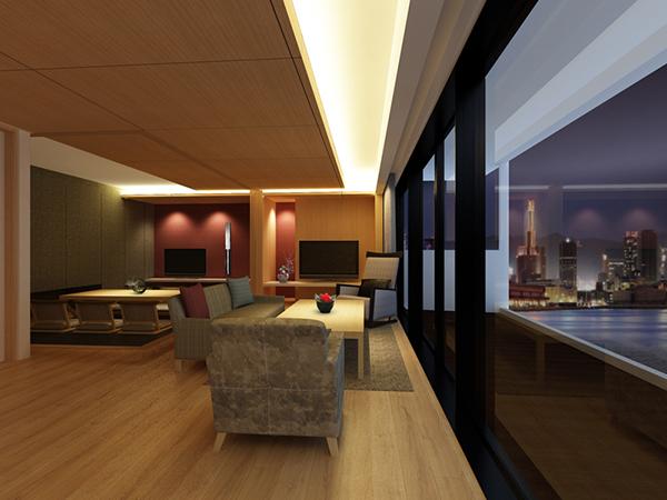 部屋はすべて50㎡の広さを誇る和洋室