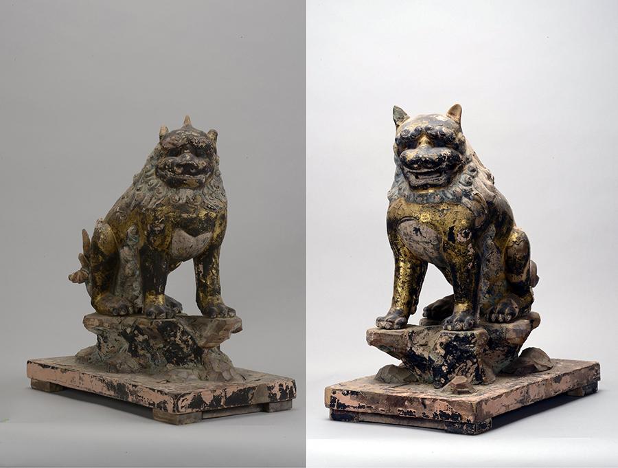 右から第一殿獅子/第一殿狛犬(写真:桑原英文)