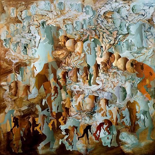 宇佐美圭司《遺作・制動(ブレーキ)・大洪水》2012年 油彩、キャンバス 291.0×291.0cm