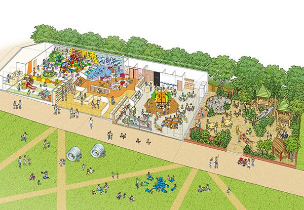 イメージパース。「てんしば」の芝生スペースで利用できるよう、来春から遊具レンタルサービスも