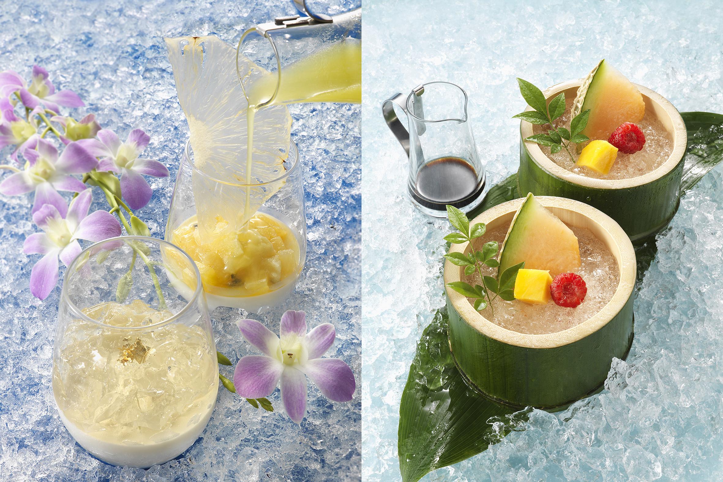 アルコール度数が高いものから順に、中国料理「薄暮〜Bomu〜」、フランス料理の「Apres-midi」(写真左)、日本料理の「黄昏」(写真右)