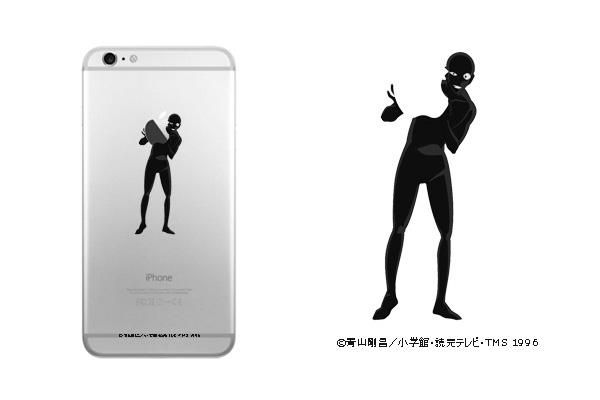 犯人がスマホのロゴを抱えて見える「クリアiPhoneケース 犯人ver.」1,944円
