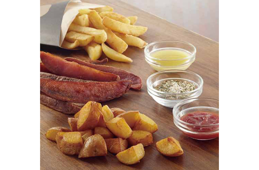 ソースはバジル&マヨネーズ、3種の北海道産チーズ、キノコタルタルなど6種。シンプルな塩とハーブ塩もあり