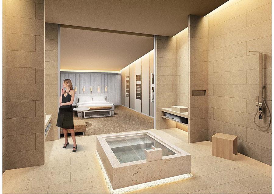 客室のイメージ図、ミニマルでスタイリッシュな空間に