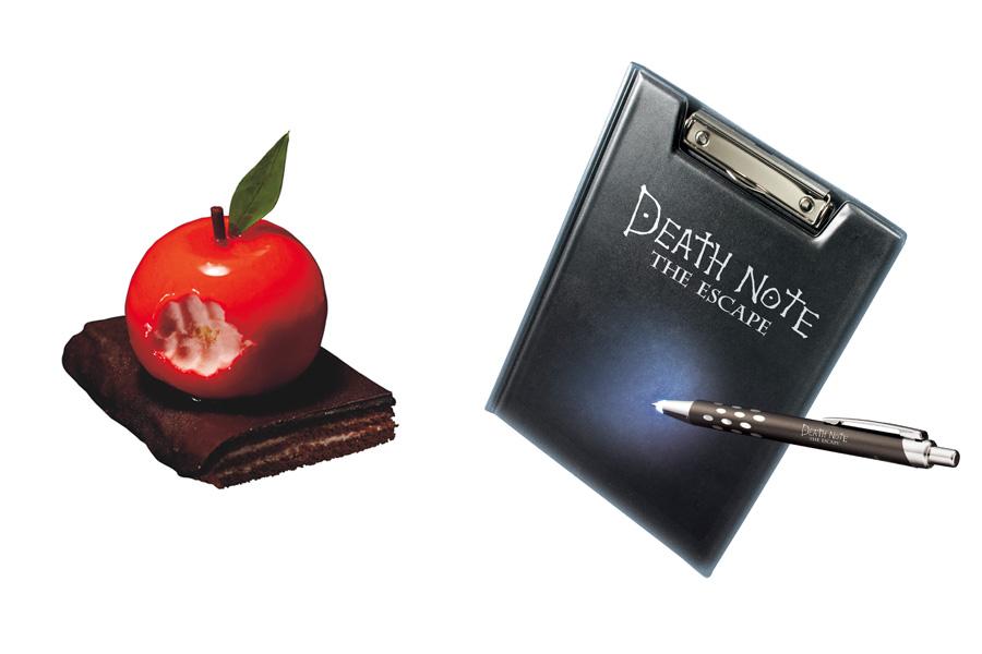 死神リュークの大好物であるリンゴをイメージしたデザート「リュークのかじったリンゴのムース」や、謎解きで役立つ「バインダー」「ライト付きボールペン」