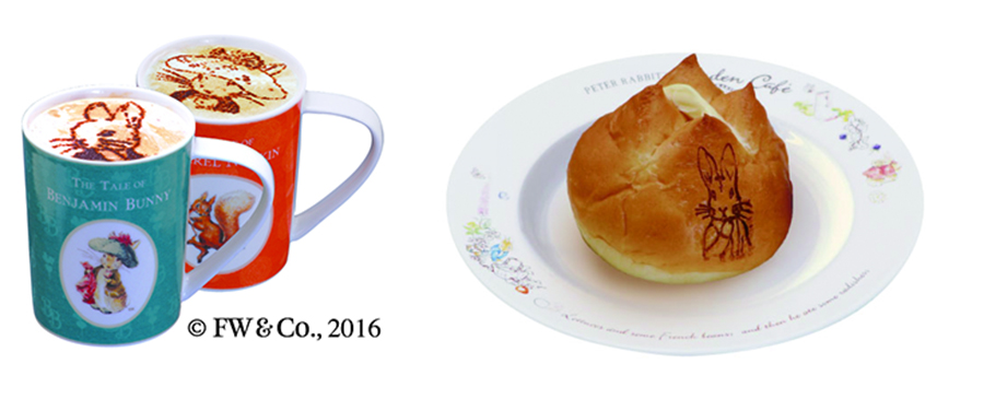 右から「ピーターラビットのラケルパン」「ピーターラビットのカプチーノ」