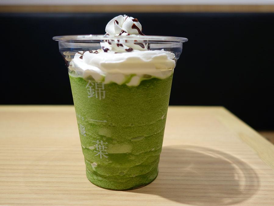 「錦一葉かふぇ」の宇治茶くりーむふらってぃ抹茶S450円