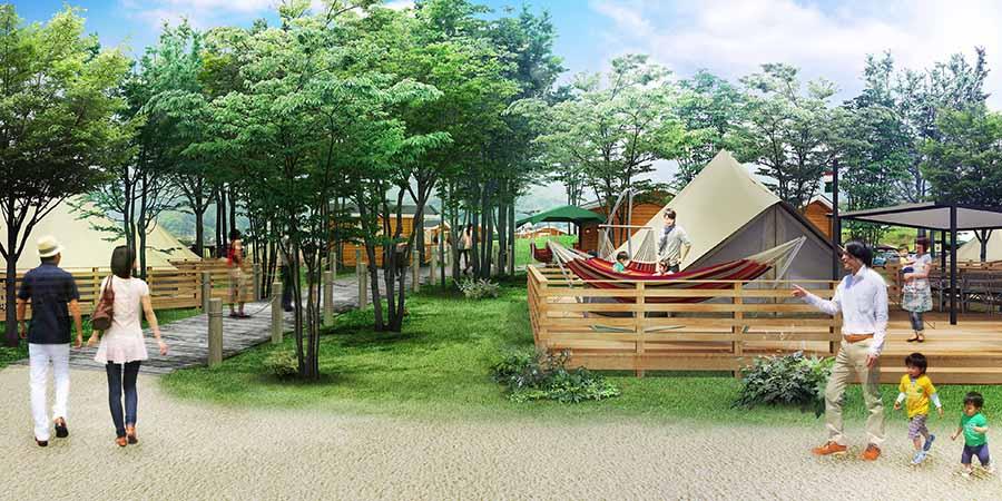 グランピング施設のイメージ図。快適に過ごせる空間を目指す