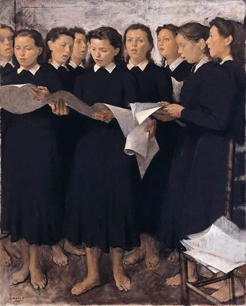小磯良平《斉唱》 1941年 兵庫県立美術館蔵