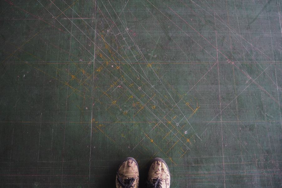 床に残る製図の跡
