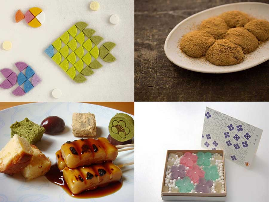 干菓子、わらびもち、みたらし、琥珀など、さまざまな和菓子が登場する