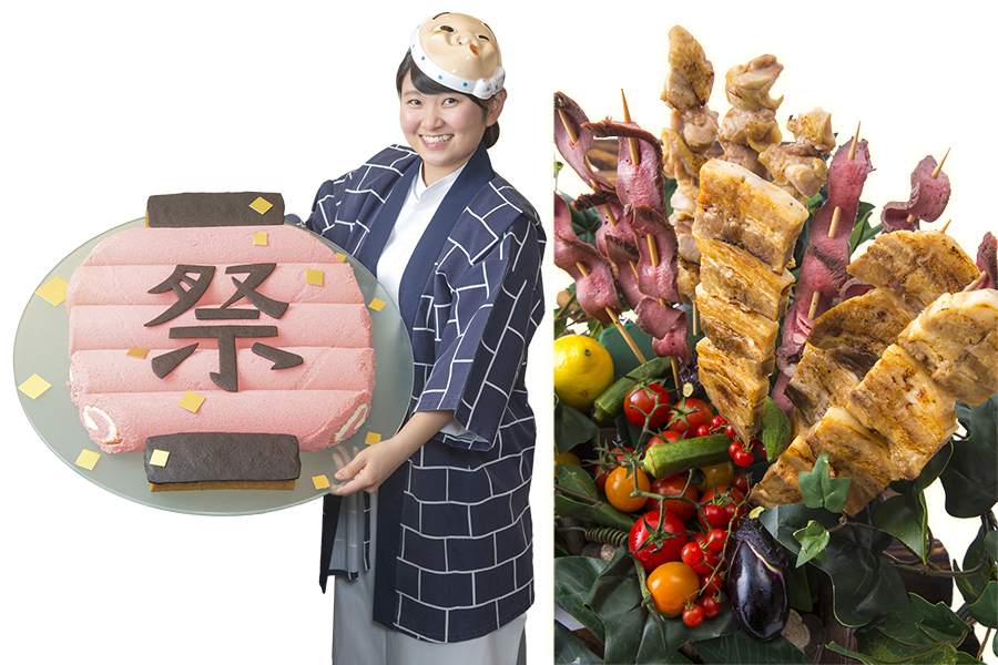 ロールケーキが並べられちょうちん型に。全長30cmの串焼きは鶏、豚、牛タンから選べる(写真はイメージ)