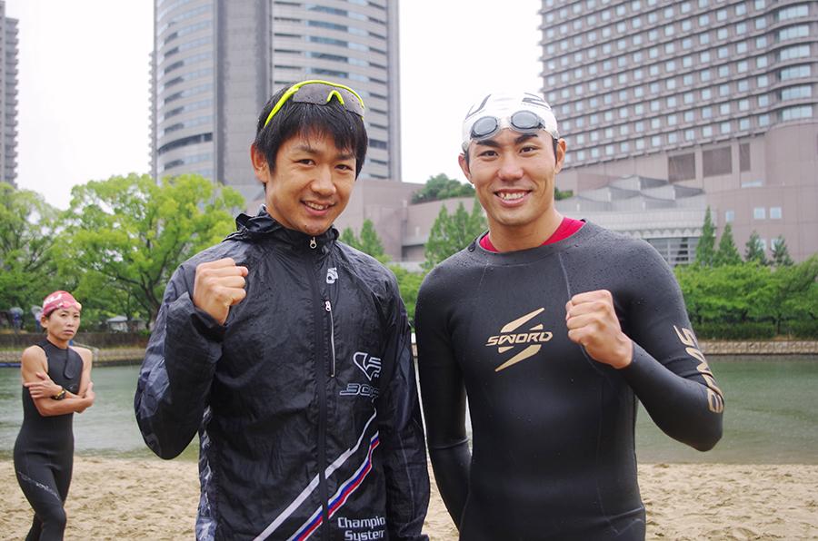 ゲスト・アスリートとして参加した下村幸平選手(左)と山本良介選手