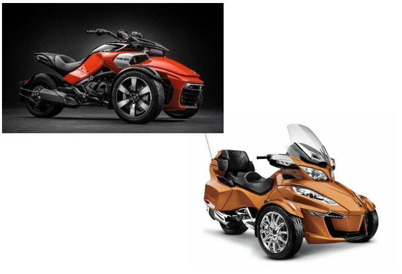 レンタル用に2台常備されている三輪バイク「カンナム・スパイダー」