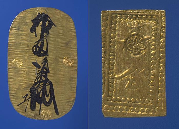 左が「慶長大判」(表)、右が「額一分金」(表)