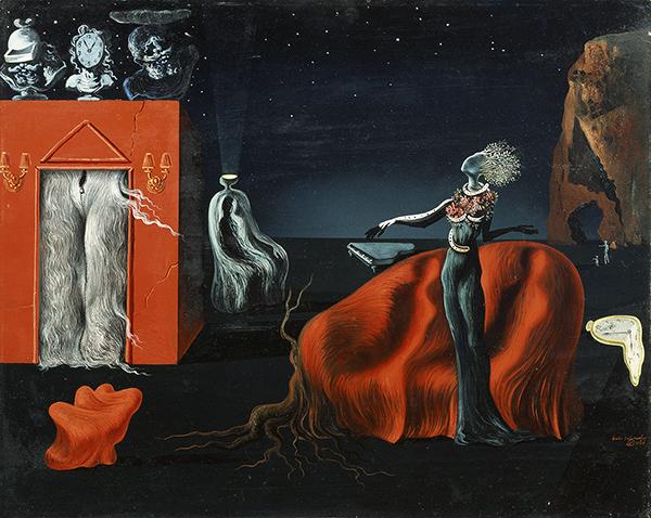 サルバドール・ダリ《奇妙なものたち》 1935年頃、40.5×50.0cm、板に油彩、コラージュ、ガラ=サルバドール・ダリ財団蔵 Collection of the Fundació Gala-Salvador Dalí, Figueres © Salvador Dalí, Fundació Gala-Salvador Dalí, JASPAR,Japan,2016.