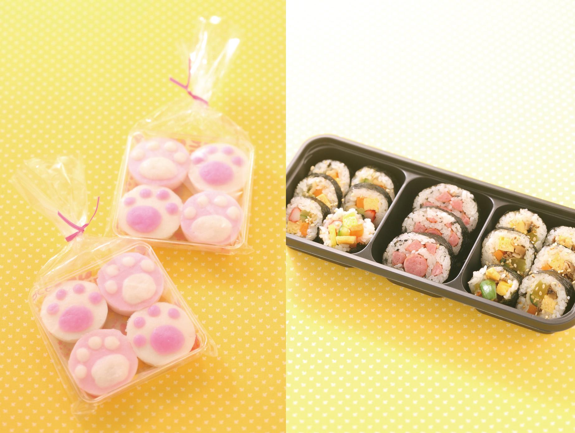 左から「和田八」のまねきネリ4個入り648円、「サランバン」のにゃらんのキンパBOX702円