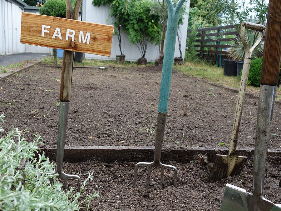 温室の裏には、デポやアウトレットの他、小さな畑も。今後は香り豊かなハーブガーデンもできる予定