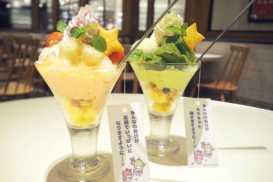 キキの和風わらびもちパフェ(右)、ララの和風みたらしパフェ(左)各951円