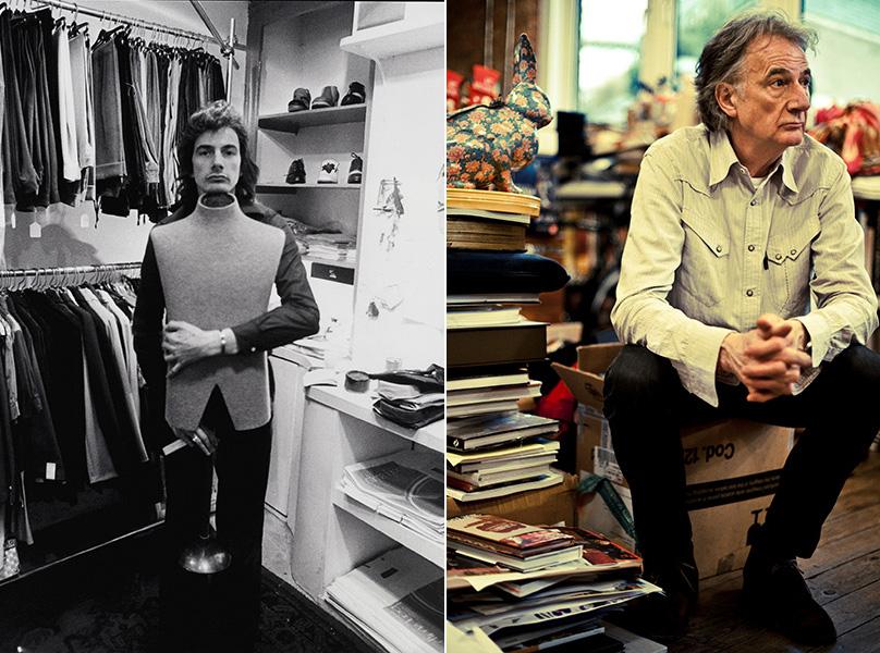 (左)ノッティンガムの1号店にて (右)ポール・スミス
