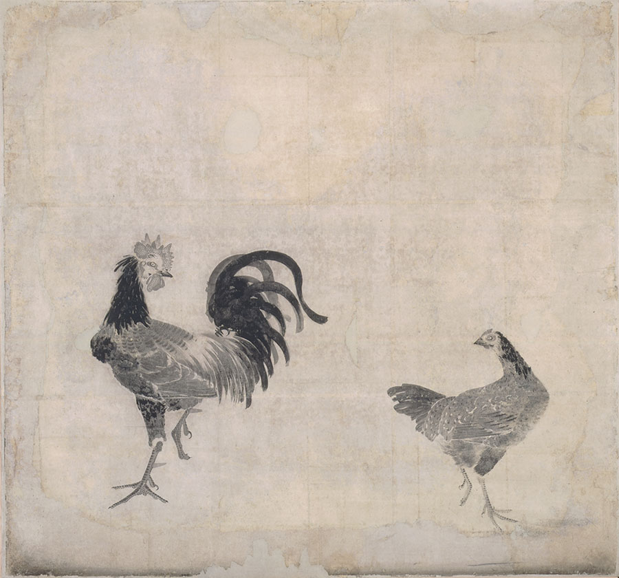 「重要文化財 鹿苑寺大書院旧障壁画 双鶏図貼付 鹿苑寺蔵」 若冲44歳の時に手掛けた水墨画の傑作