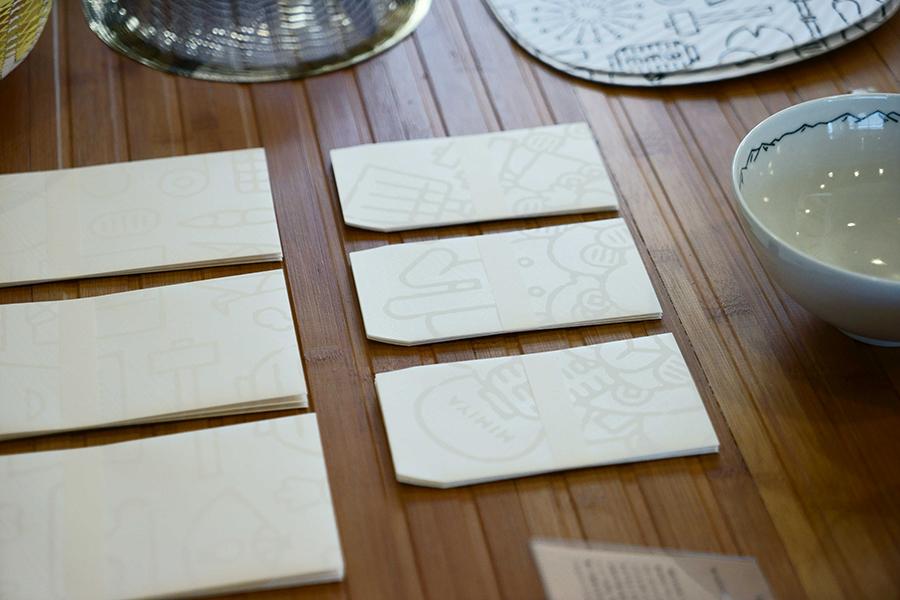 「かみ添」とのコラボ。オリジナルデザインの封筒やぽち袋も