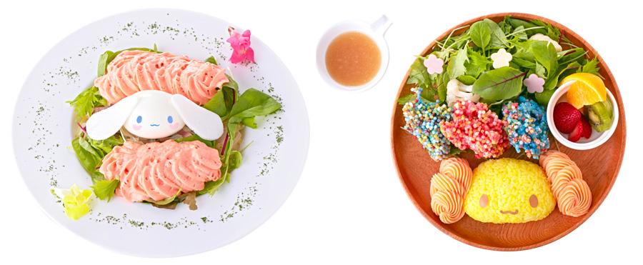 「ピンクのふわふわ雲 トマトクリームパスタ」1,382円、惑星をイメージしたカラフルな唐揚げの「シフォンのパッションプラネットプレート(マグ付き)」1,706円