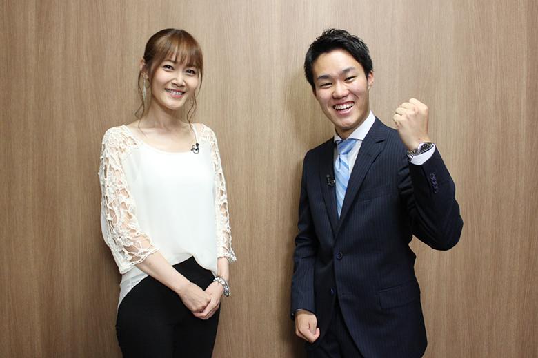 やる気は満々。関西テレビ入社1年目の服部優陽アナ(右)と20年目の杉本なつみアナ