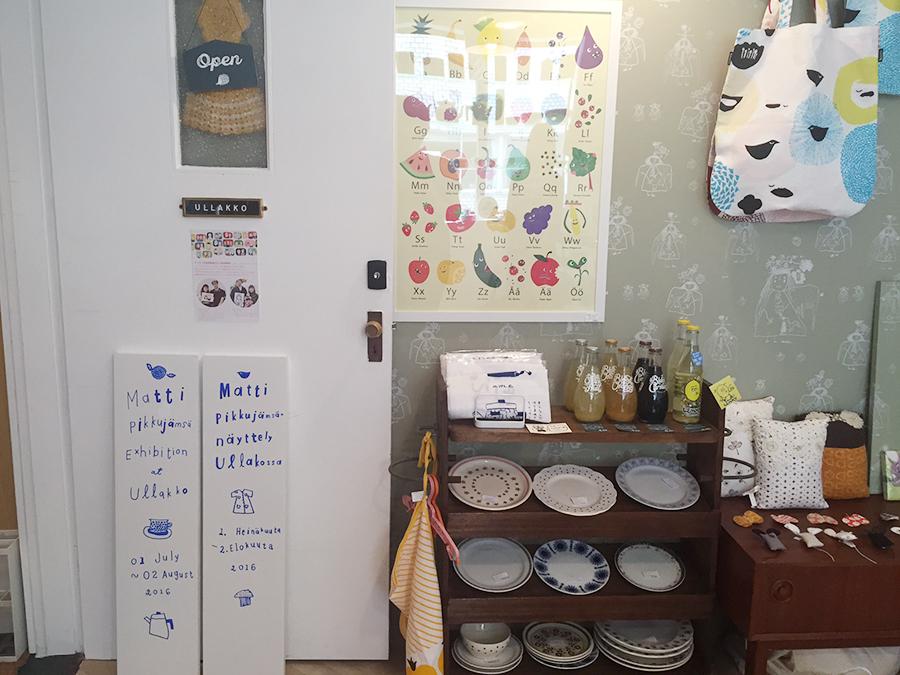 今回の企画のために、マッティが英語とフィンランド語で描いた看板