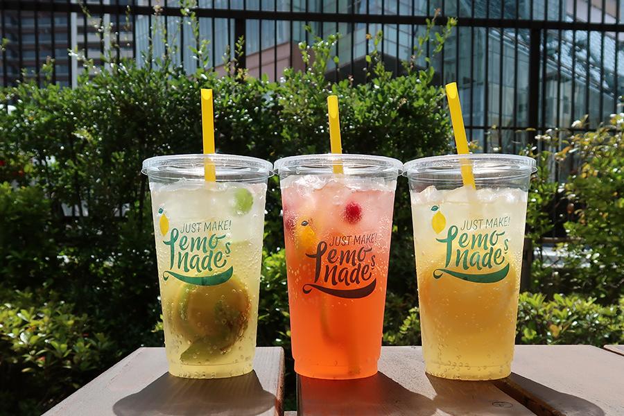 「JUST MAKE! Lemonades(ジャストメイクレモネード」。レモン、ラズベリー、レモンの3種のシロップから選べるMサイズ600円