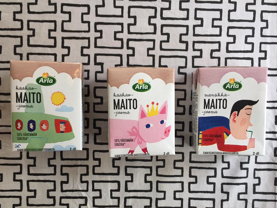 マッティがフィンランドで手掛けた牛乳のパッケージ。カフェ、アンティーク・マルカにて見ることができる